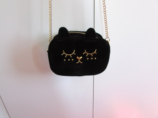 ASOS Cat Velvet Cross Body Bag - Black