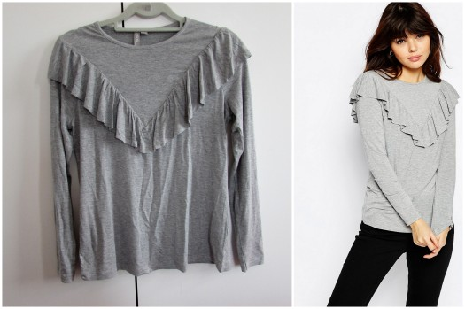 asos grey marl long sleeve top with ruffle front