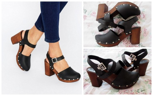 asos only once leather heeled shoes sandals clogs