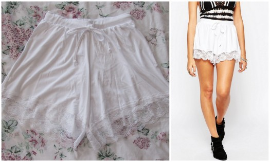 asos white lace trim shorts