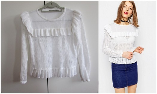 asos white ruffle detail jumper