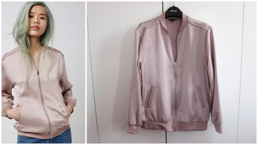 topshop haul satin bomber jacket pink