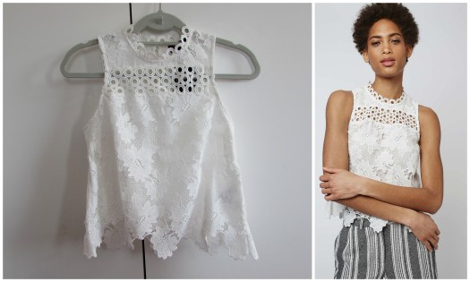 topshop haul white panel lace shell top