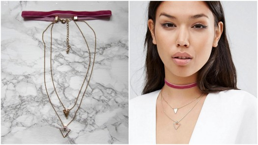 asos-pink-velvet-layered-choker-gold-triangle-necklace