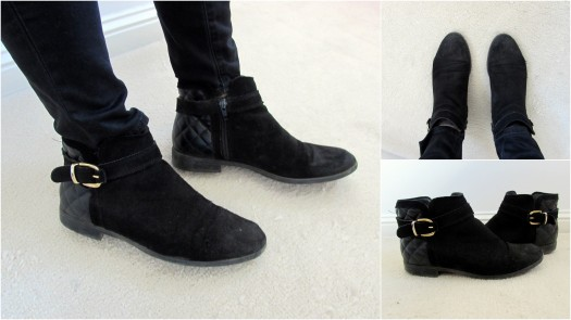 office-black-flat-boots-buckle-quilted-suede