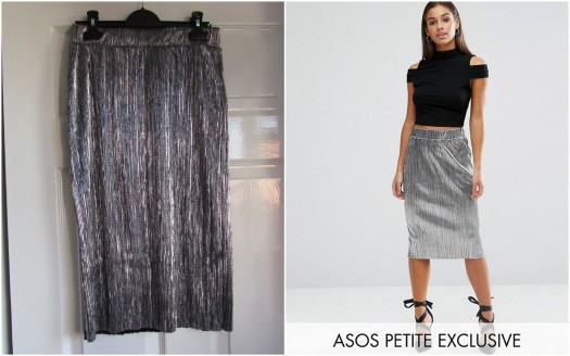 ASOS PETITE Metallic Pleat Skirt - Silver