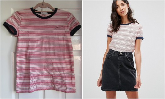Pepe Jeans Donna Striped Tee - Red