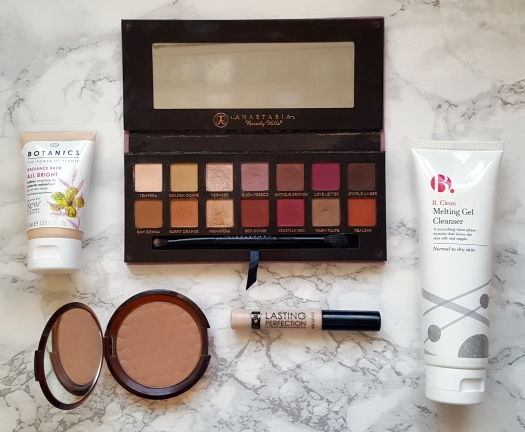 anastasia beverly hills modern renaissance palette boots botanics radiance balm the body shop honey bronzer collection lasting perfection concealer b clean melting gel cleanser