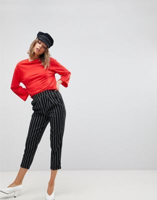 Stradivarius Stripe Peg Leg Trouser